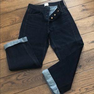 Zara High Waist Button Front Loose Fit Jeans